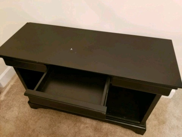 black wooden 2-layer TV stand