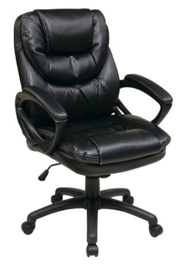 Black Faux Leather Managers Chair with Padded Arms d3580136-b575-496a-a4d6-df75c861e051