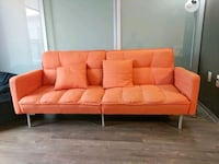 tufted orange 3-seat sofa (converts to bed) 29 km