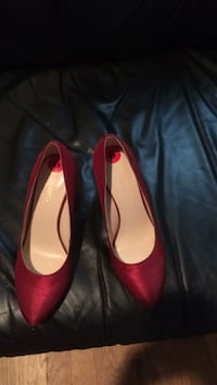 pair of red leather pointed-toe heeled shoes White Plains, 10606