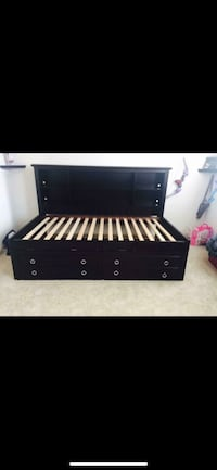 Black and gray wooden bed frame TWIN BED  813 mi