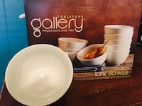 Bowls. 5.5 inch white ceramic, 10 pack. contemporary design. Check my site for matching plates & platters Stanton, 90680