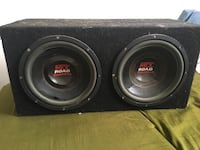 black and red MTX road subwoofer