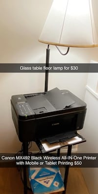 Canon Printer and glass table floor lamp