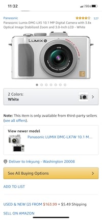 White Panasonic Lumix DMC-LX5 10.1 MP w 3.8x