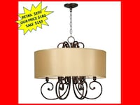 World Imports Rue Maison 6-Light Iron and Euro Bronze Chandelier with Beige Drum Shade BRAND NEW!! Plantation