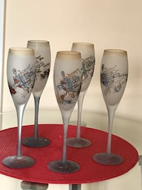 Unique artisan art set of 5 Champagne glasses. Hand made .