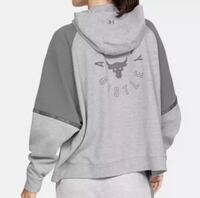 """Under Armour Project Rock Oversized Hoodie """"All Day Hustle"""" NWT Gray Annapolis"""