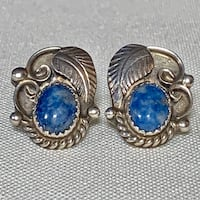 Genuine Navajo Sterling Silver Lapis Lazuli Earrings Ashburn