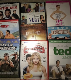 DVDs new and some barely used average $2-5 each some blue rays here also $2-10 law order series sets n South Park etc