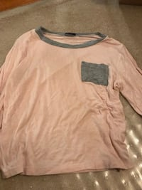 Pink and grey full sleeved top Caledon, L7C