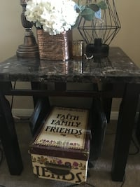 black wooden stand granite top square side table