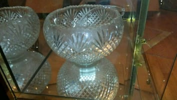 Cut glass punchbowl and 8 cups and ladle