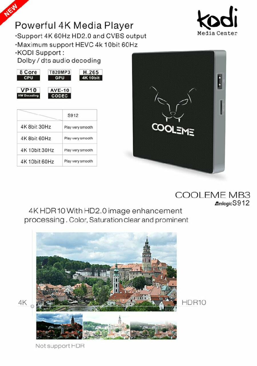 COOLEME® MB3 Amlogic S912 Octa Core 2G DDR3 RAM 32 - Budapest
