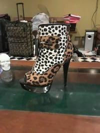 Brown Leopard Cheetah Platform Stiletto Boots  Warwick, 02889