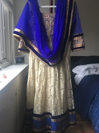 Blue, velvet and net kurta salwar/suruwal, party attire indian Washington
