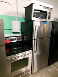 3PC. PACKAGE STOVE, FRIDGE AND NEW OVER THE RANGE MICROWAVE