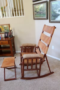 Leather and Wood Rocking Chair and Ottoman from Costa Rica