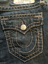 Exclusive silver threaded true religion brand jeans  Toronto