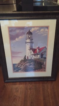 Brown wooden framed painting of lighthouse Vienna, 22031