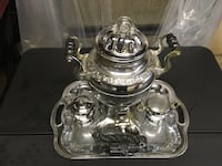 1952 LaBelle Silver coffee percolator with serving set and original cloth power cord. Westchester, 60154