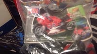 red and black Mega Bloks sports bike toy
