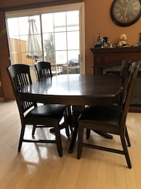 rectangular brown wooden table with four chairs dining set Саут-Амбой, 08879