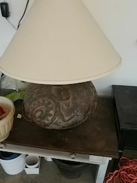 brown ceramic table lamp with offwhite lampshade Dallas, 75236