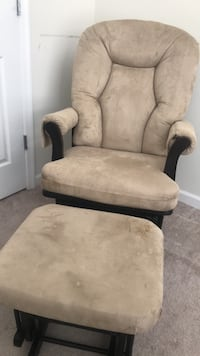 Dutailier Wood Glider and  Ottoman Combo Set in Tan Fabric Secaucus, 07094
