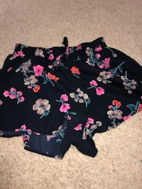 Black, pink, and green floral print shorts Kitchener