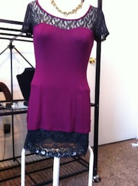SHEER PURPLE OUTFIT KNIT  SZ MED WITH JEWELRY WOMEN'S TOP  Stillwater