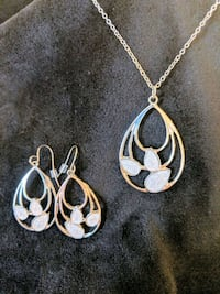 *NWT*Silver-colored necklace and hook earrings set