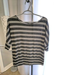 black and gray stripe scoop neck long sleeve shirt Barrie