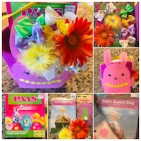 Girls hairbow easter basket egg dye