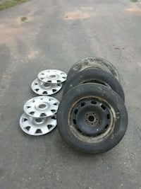 Set of 4 tires and rims and hubcaps for VW