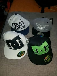 Two obey snapback, 2 dc fitted caps