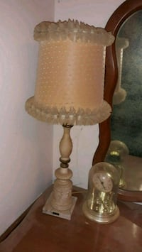 brown wooden base white shade table lamp Allegheny County