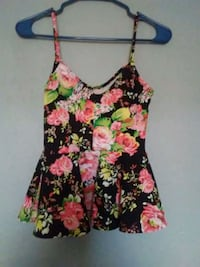 women's black and pink floral spaghetti strap top Palmview, 78572