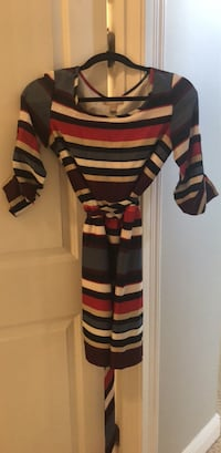 White, red, and black stripe scoop neck dress Windermere, 34786