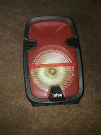 black and red portable speaker
