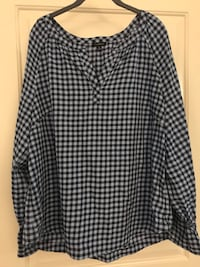 Blue & Black Checkered Shirt with Ruffled Sleeves Columbia, 21044