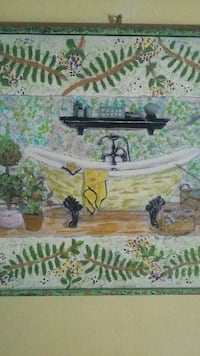 white and green bathtub painting