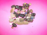 Flint Stone, Glass Marbles, River Rocks, Black & Tan Stones Great for Crafts & Stone Art. 45 Pieces. Hagerstown, MD. 21742 Orchard Hills