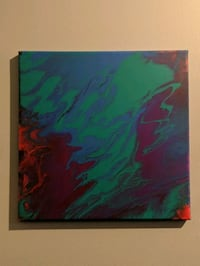 green, red, and blue abstract painting Sooke, V9Z 0V3