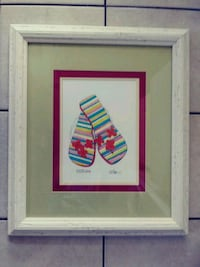 White wood framed flip flop called FLOWER CHILD an signed by artist . Myrtle Beach, 29577