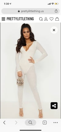Pretty little thing nude striped mesh sheer jumpsuit  Mississauga, L5J 4B6