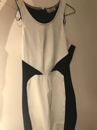 Knee high Zara dress. White leather and black fabric. Size (s) worm once. 10/10 Newmarket