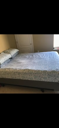 Queen size bed with bed box and bed frame