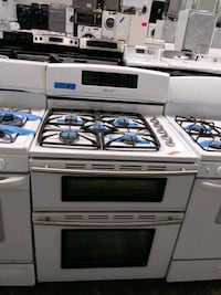 New JENN AIR gas stove double electric oven