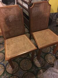 Two Vintage Oak Cane Dining Chairs  37 km